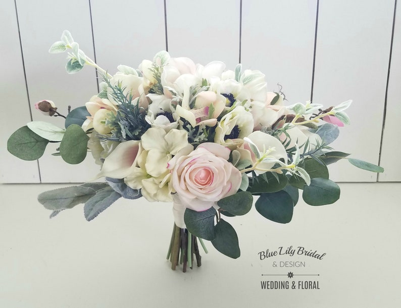Bridal Bouquet Wedding Flowers Wedding Bouquet Cream and Blush Boho Bridal Bouquet MagnoliaEucalyptus Faux Flowers