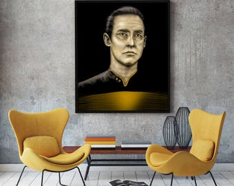 Data - Star Trek The Next Generation - Stretched Canvas - Multiple Sizes - optional floating frame