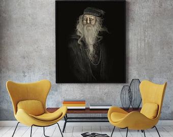 Albus Dumbledore Portrait Painting Print 18x24 LARGE DIGITAL DOWNLOAD High Resolution