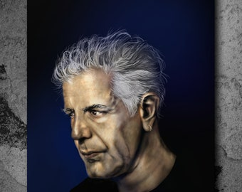 Anthony Bourdain Painting - Stretched Canvas - Multiple Sizes Portrait Art