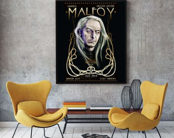 Lucius Malfoy Portrait Painting Print 12x18 Archive Print LIMITED EDITION