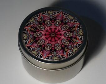 Round Storage Tin Trinket Box Gift Tin Keepsake Box Gift Box Jewellery Box Bits and Bobs Tin Patterned Mandala in Pink