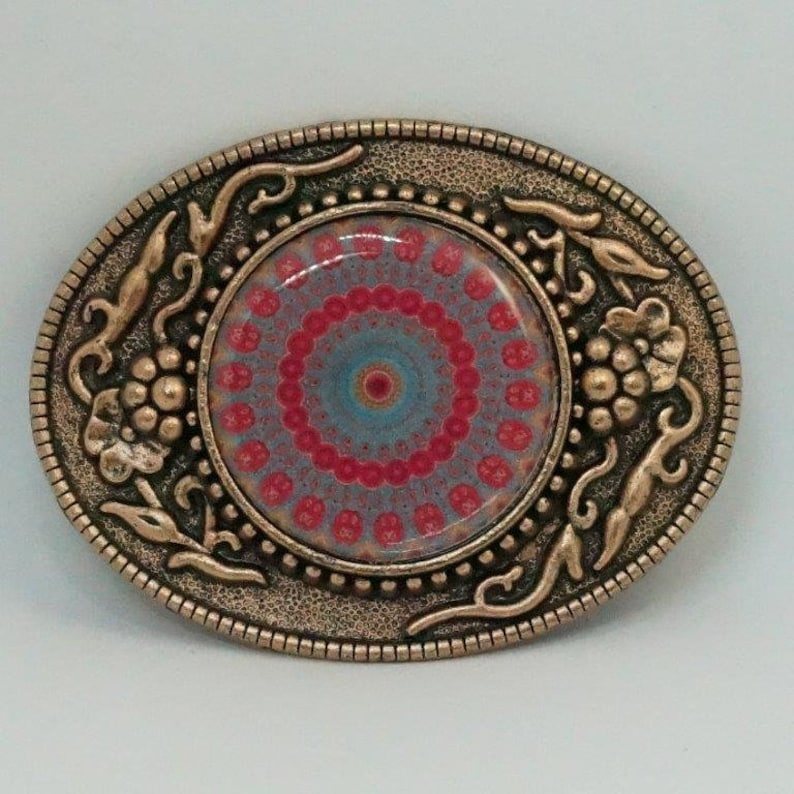 Oval Hand Decorated Cooper Finish Belt Buckle Patterned Mandala Blue Green Red