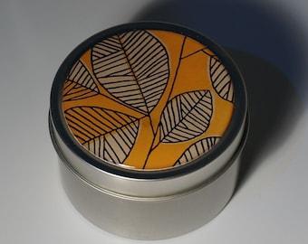 Round Storage Tin Trinket Box Gift Tin Keepsake Box Gift Box Jewellery Box Bits and Bobs Tin Autumn Leaves