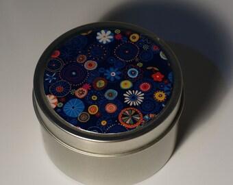 Round Storage Tin Trinket Box Gift Tin Keepsake Box Gift Box Jewellery Box Bits and Bobs Tin Floral Flowers in Blue