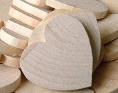 """10 Unfinished Flat Wood Hearts, size 1"""" (25mm)"""