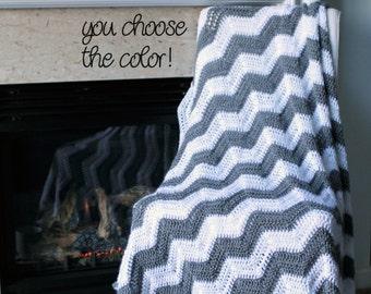 Chevron Afghan Throw Blanket Crochet - Light Grey and White Chevron Afghan Striped Ripple Zig Zag - Made To Order