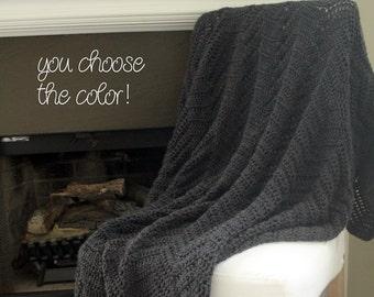 Chevron Afghan Throw Blanket Crochet - Solid Dark Grey Ripple Zig Zag - Made To Order