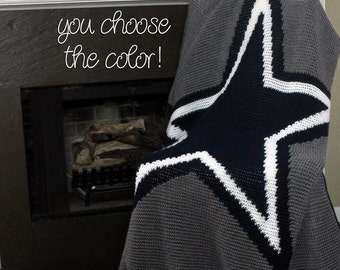 Star Afghan Throw Blanket Crochet - Dark Blue and White Striped Star - Made To Order