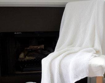 Solid Afghan Throw Blanket Crochet- Solid White - Made To Order