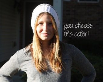 Personalized Striped Beanie Hat Crochet- Textured Light Grey & White - Made To Order