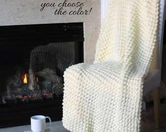 Bobble Afghan Throw Blanket Crochet - Solid Off White - Made To Order
