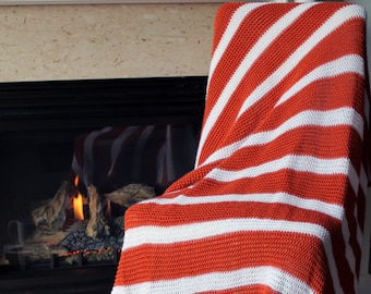 Striped Afghan Throw Blanket Modern Crochet - Pumpkin and White Striped - Made To Order