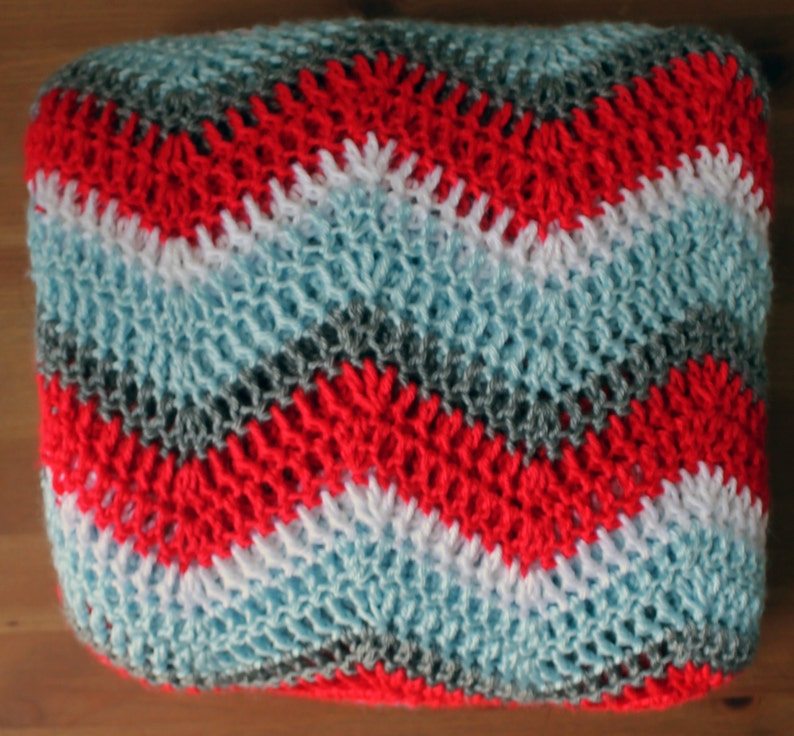Bright Sky Blue Red Grey and White Striped Ripple Zig Zag Made To Order Chevron Afghan Throw Blanket Crochet