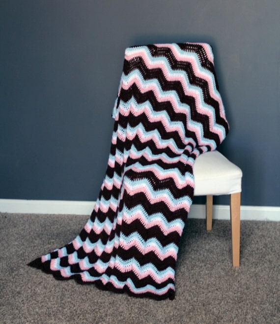 Chevron Afghan Throw Blanket Crochet Light Pink Light Blue Etsy Inspiration Pink Chevron Throw Blanket