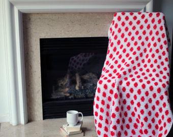 Polka Dot Afghan Throw Blanket Crochet - Red and White Polka Dot - Ready To Ship