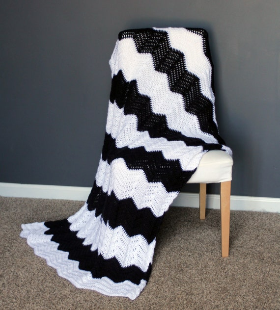 Chevron Afghan Throw Blanket Crochet Black And White Striped Etsy Fascinating Black And White Striped Throw Blanket