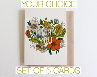 Set of 5 greeting cards- you choose!