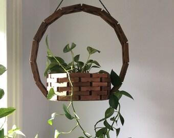 large vintage tramp art style plant hanger. hanging wood planter. mid century hanging wooden planter. indoor outdoor boho vintage planter