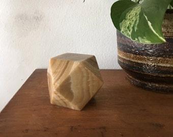 vintage onyx geometric paperweight. boho marble stone. vintage boho office desk decor dorm decor