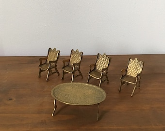miniature brass furniture set