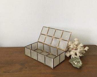 mid century brass and capiz shell jewelry box