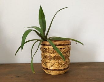 vintage woven bamboo and jute planter