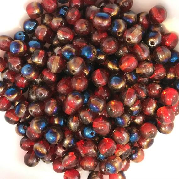 6mm Round Smooth Czech Glass Bead Pressed Glass 6mm Round Bead Matte Red AB Druk Bead