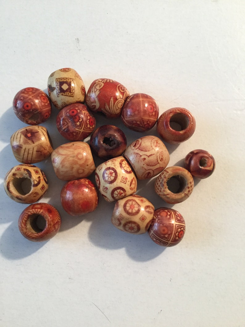 16mm Wood Barrel Bead with 8mm Large Hole Light Wood Bead with Multi Designs Created with Darker Wood and Red Patterns