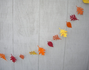 fall garland, 6 ft fall paper leaf garland, fall decoration, fall wedding garland, wedding decoration, fall colors