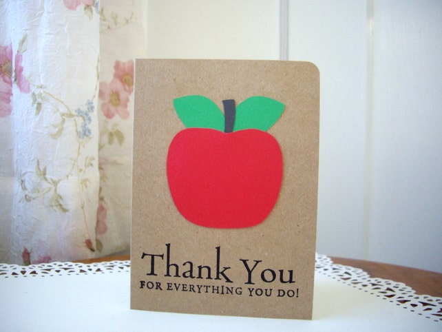 apple thank you card, teacher thank you card, back to school card, apple card, end of school year card, teacher card, kraft thank you card