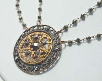 Filigree  Pendant Necklace  |  Wire Wrapped Double Pyrite Chain | Antique Cut Steel Button  | Downton Abbey Inspired