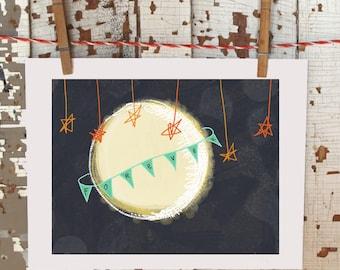 original whimsical illustration art print - forever