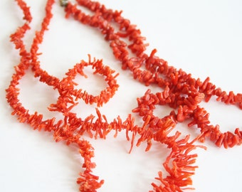 N36 Flower Carved Natural Genuine Precious Red Coral Branch Necklace