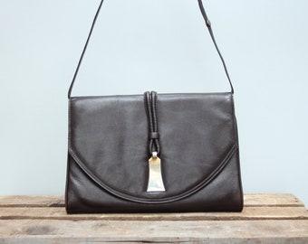 261bf30820a543 Braune Leder Handtasche, Clutch aus braunem Leder, elegante Abendtasche,  dunkelbraune Ledertasche, Frauen Tasche, Handtasche für Sie, Tasche