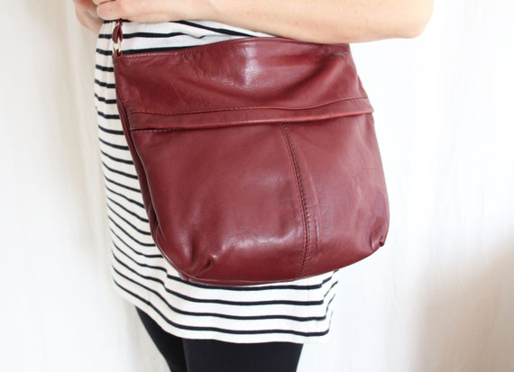 Burgundy Leather Purse, Crossbody Bag, Vintage Pur