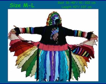 elf coat, size M, size L, sweater coat, elf sweater, cardigan, hoodie, hippie coat, hippie coat, pixie coat, boho dress
