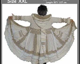 eLf cOAT, elf sweater, size XXL, sweater coat, hoodie, costume, gypsy sweater, patchwork coat, Recycled dress, ooak