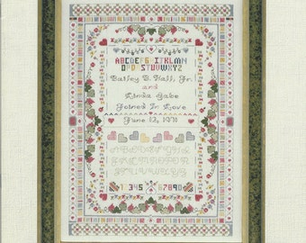 """Clearance- """"Wedding Sampler"""" Counted Cross Stitch by Cross My Heart"""