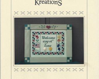 Karen/'s Kreations Love /'n Stitches Kit 00860 1989 Katy Cat Sit About NIP DIY Counted Cross Stitch Kit by Designer Diana Prain 10 x 14