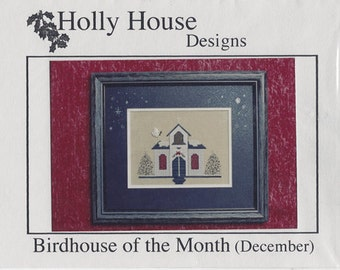 """Clearance - """"December Bird House of the Month"""" Counted Cross Stitch Chart by Holly House Designs"""