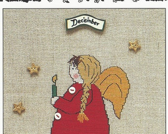 """Clearance - """"December Angel"""" Counted Cross Stitch Chart by Sigrid Designs"""
