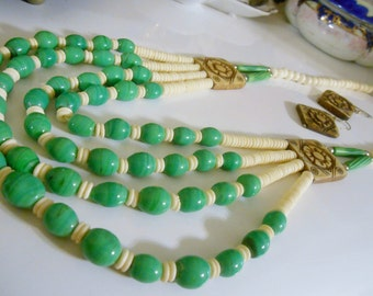 Vntage 1960's  Egyptian Revival Hand Crafted Waterfall Beaded Parure ~  Necklace and Earrings ~ Ceramic Clay & Bone with Shell Set