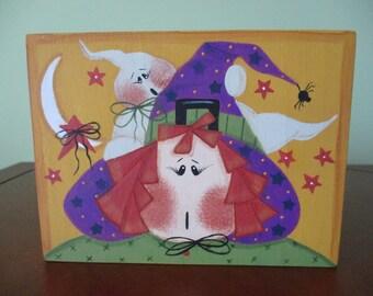 witch block, shelf sitter, halloween shelf sitter, witch shelf sitter, tole painting, gift for her, hostess gift, halloween decor