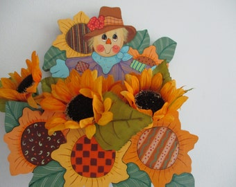 Scarecrow wall hanging, scarecrow box for flowers, fall decor, autumn decor, wall hanging, gift for her, hostess gift, tole painting