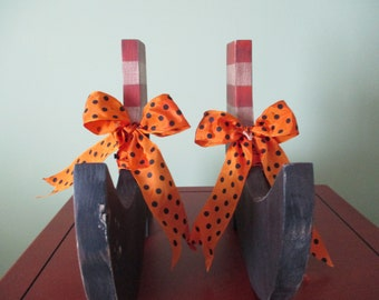 witch's shoes, witch's boots, footwear, halloween decor, shelf sitter, tole painted, gift for her, hostess gift