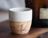 Handmade Pottery Tea, Juice, Whiskey, Cup, 8 oz, FREE U.S. Shipping & GIFT BOX, Creamy White, Log Cabin, Rustic Kitchen, Tiny Vase