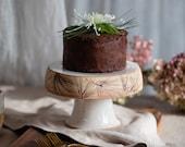 Handmade cake stand, 8 inch cake plate, dessert pedestal, winter white, wedding cake stand, cupcake display, log cabin decor