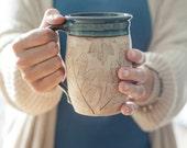 Coffee Lover Pottery Mug - Handmade Mug - Gift for Her - Gift for Him - Julia E. Dean