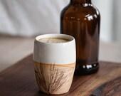 Handmade Pottery Tumbler, Water Glass, 14 ounces, Creamy White, FREE U.S. Shipping & GIFT BOX, Log Cabin, Rustic Kitchen, Pine Needles